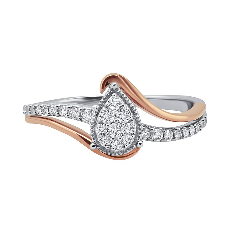 Greenberg's 10k white and pink 1/5ctw diamond promise ring