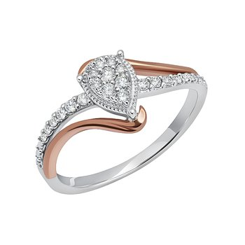 10k white and pink 1/5ctw diamond promise ring