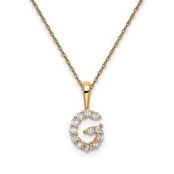 "14k yellow gold initial ""G"" pendant with chain"