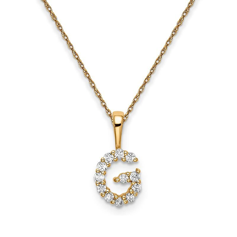 """Greenberg's 14k yellow gold initial """"G"""" pendant with chain"""