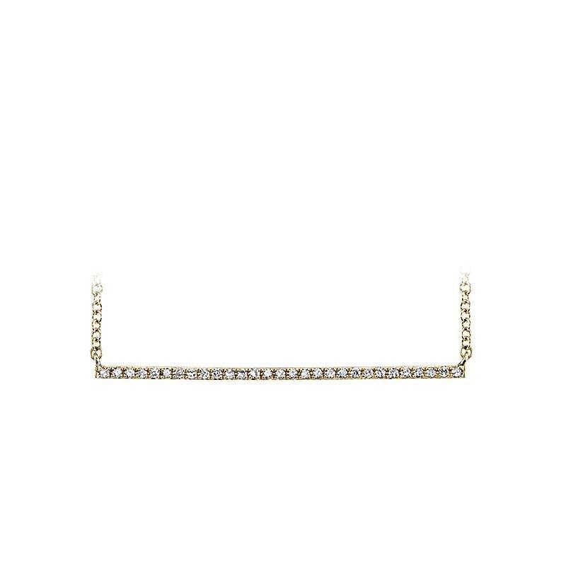 Shy Creation 0.08CT 14K Y/G Diamond Bar Necklace