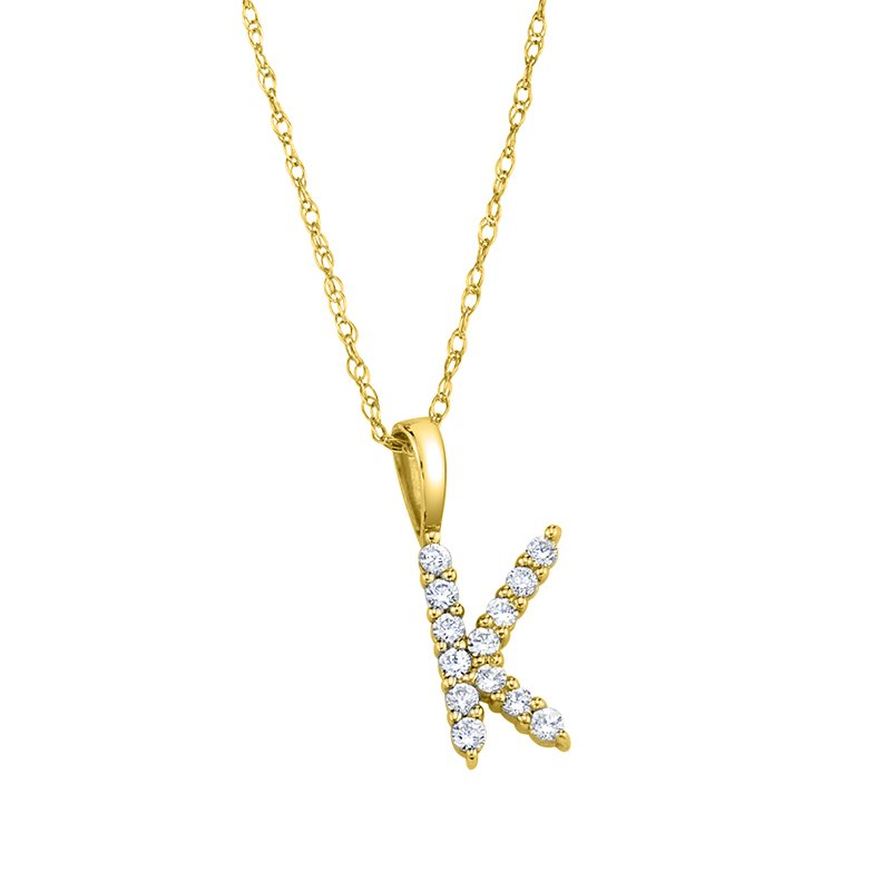 """Greenberg's 14k yellow gold """"k"""" initial pendant with chain"""