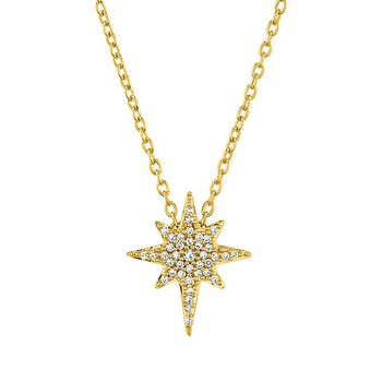 10k yellow gold 1/8ctw love star pendant