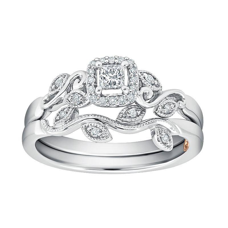 Greenberg's 10k white gold 1/4ctw .16 princess cut diamond bridal set