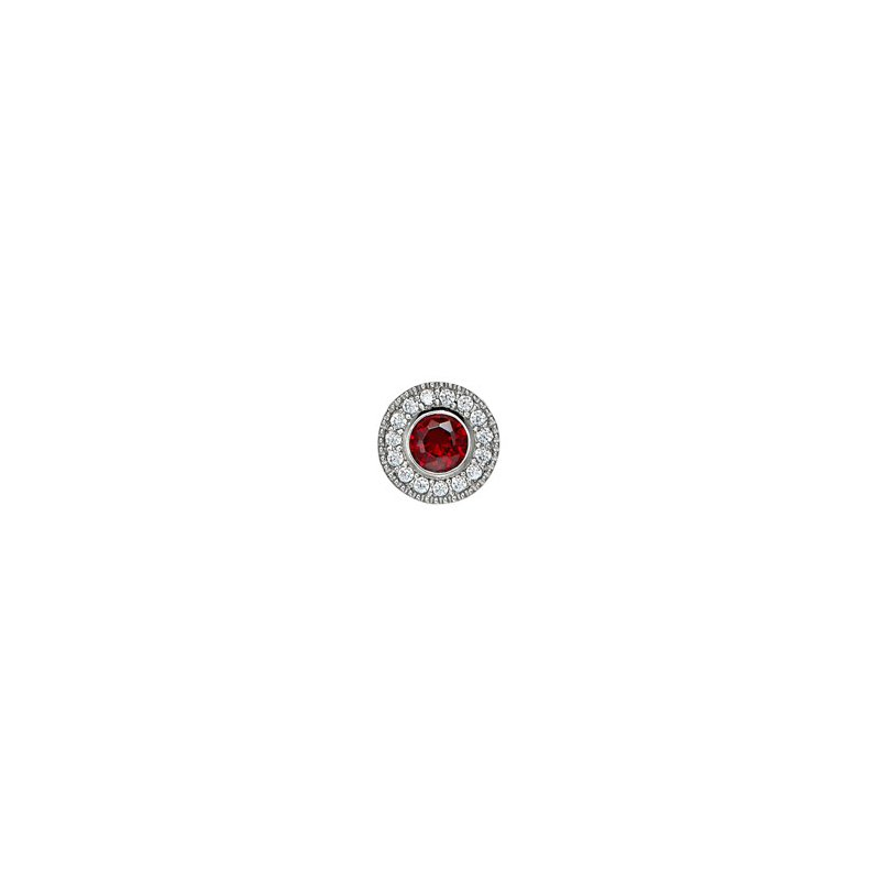 Kelly Waters platinum finish sterling silver simulated garnet charm