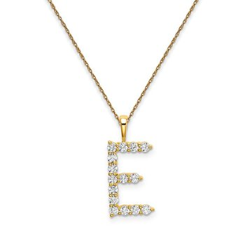 "14k yellow gold initial ""E"" pendant with chain"