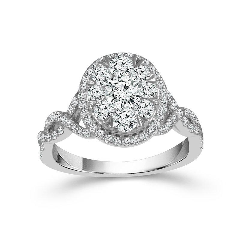 Beautiful Bride 14K WG 1.50ctw Cluster Center Diamond Engagement Ring