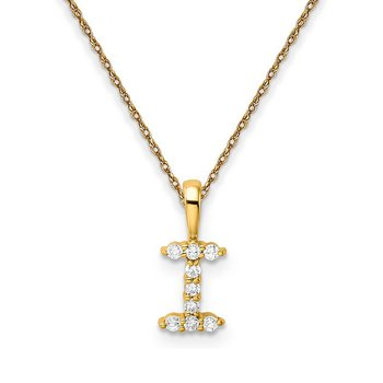 "14k yellow gold initial ""I"" pendant with chain"