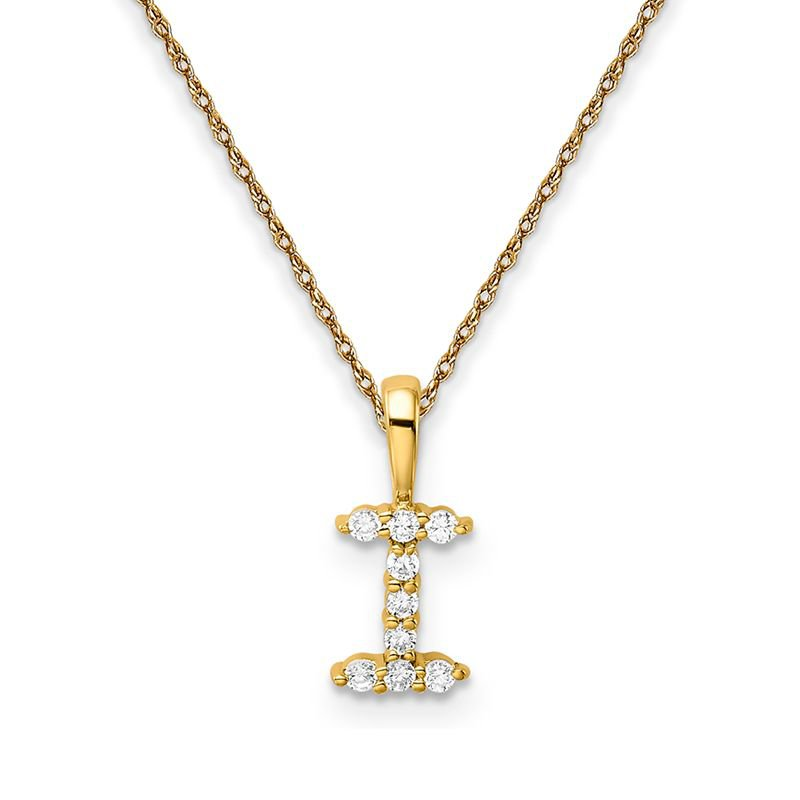 """Greenberg's 14k yellow gold initial """"I"""" pendant with chain"""