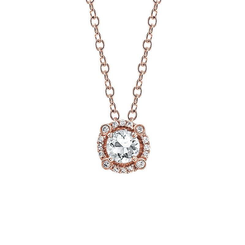 Greenberg's 10k rose gold white sapphire pendant