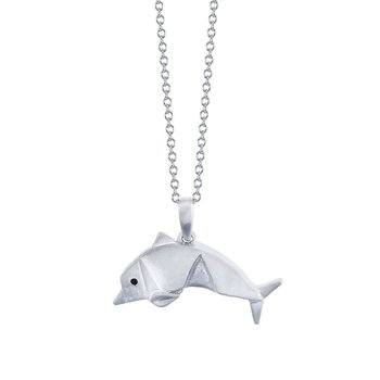 sterling silver origami dolphin pendant