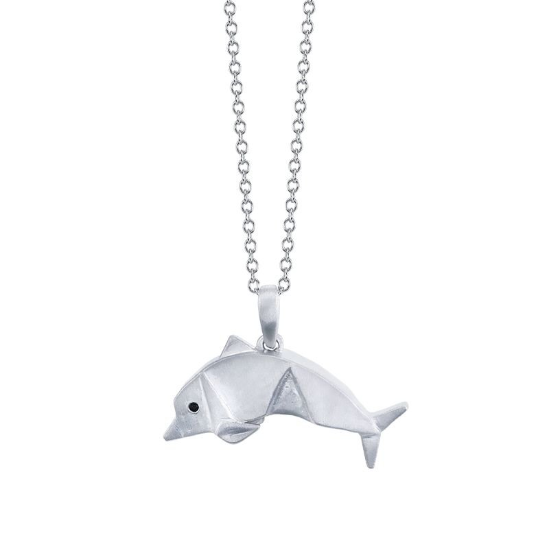 Greenberg's sterling silver origami dolphin pendant