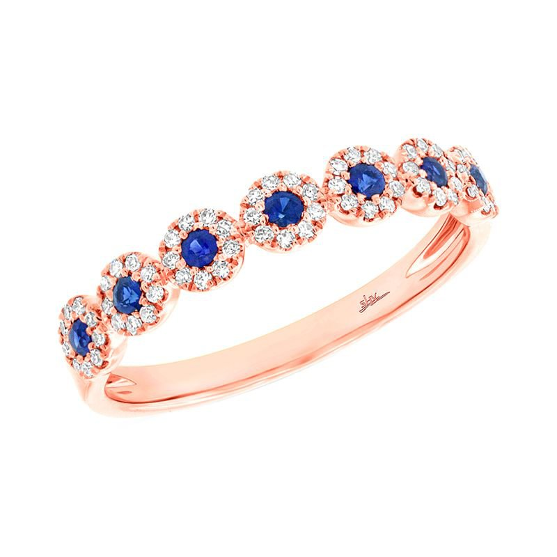 Shy Creation 14k Rose Gold Blue Sapphire Lady's Band