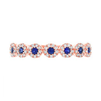 14k Rose Gold Blue Sapphire Lady's Band