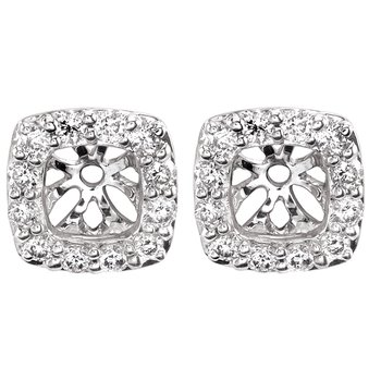 14k white gold 1/4ctw square earring jackets
