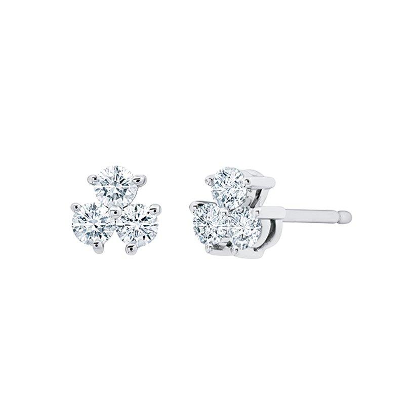 Greenberg's 14k white gold diamond cluster earrings