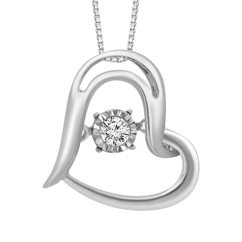Greenberg's sterling silver .05ctw diamond heart shaped pendant