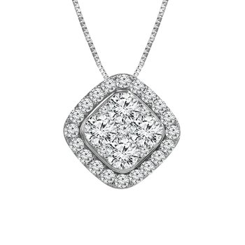 14k white gold 1ctw diamond fashion pendant