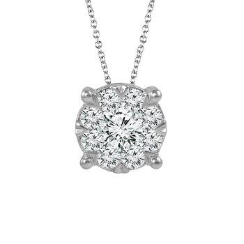 14k white gold 1/2ctw diamond pendant