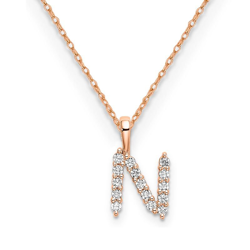 """Greenberg's 14k rose gold initial """"N"""" pendant with chain"""