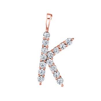 """14k rose gold initial """"k"""" pendant"""