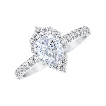14k white gold 1.25ctw 3/4 pear-shaped diamond engagement ring