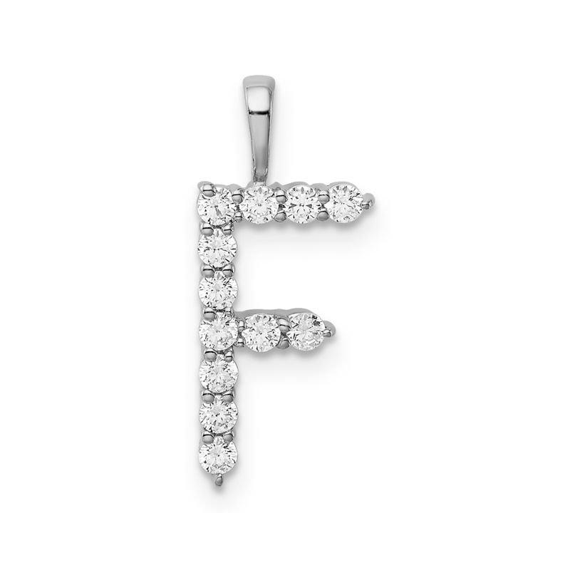 "Greenberg's 14k white gold initial ""F"" Pendant"