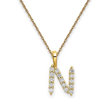 "14k yellow gold initial ""N"" pendant with chain"
