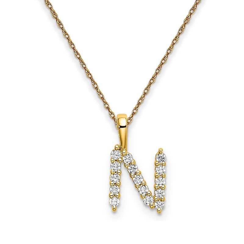 "Greenberg's 14k yellow gold initial ""N"" pendant with chain"