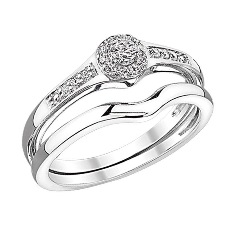 Greenberg's 10k white gold diamond bridal set