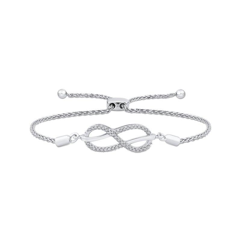 Greenberg's sterling silver diamond infinity bracelet