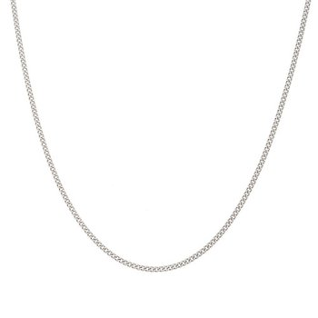 """18"""" platinum finish sterling silver 1mm curb chain"""