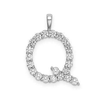 "14k white gold initial ""Q"" pendant"