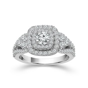 14k white gold round brilliant engagement ring