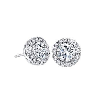 14K WG Round Moissanite Earrings