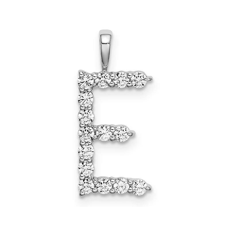 "Greenberg's 14k white gold initial ""E"" pendant"