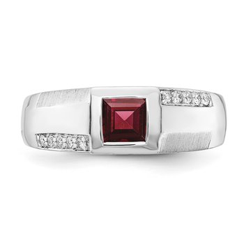 sterling silver and diamond .15ctw garnet gents ring