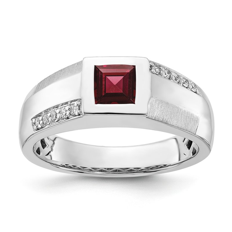 Greenberg's sterling silver and diamond .15ctw garnet gents ring