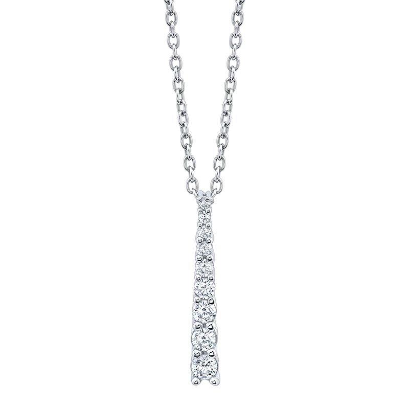 Greenberg's 10k white gold 1/4ctw journey-style pendant