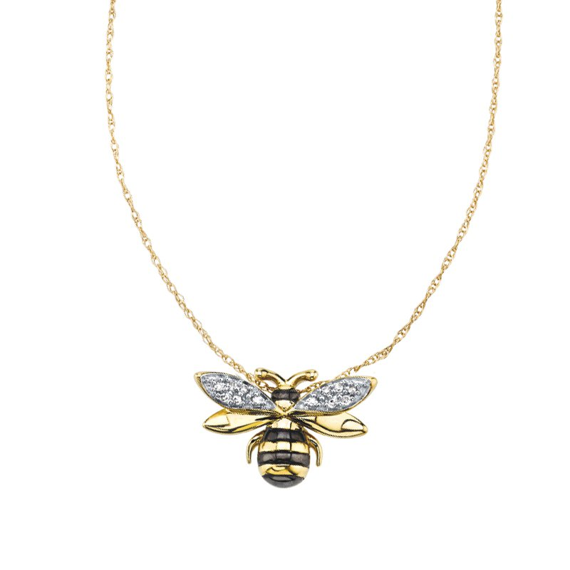 Greenberg's sterling silver with yellow micron honey bee pendant