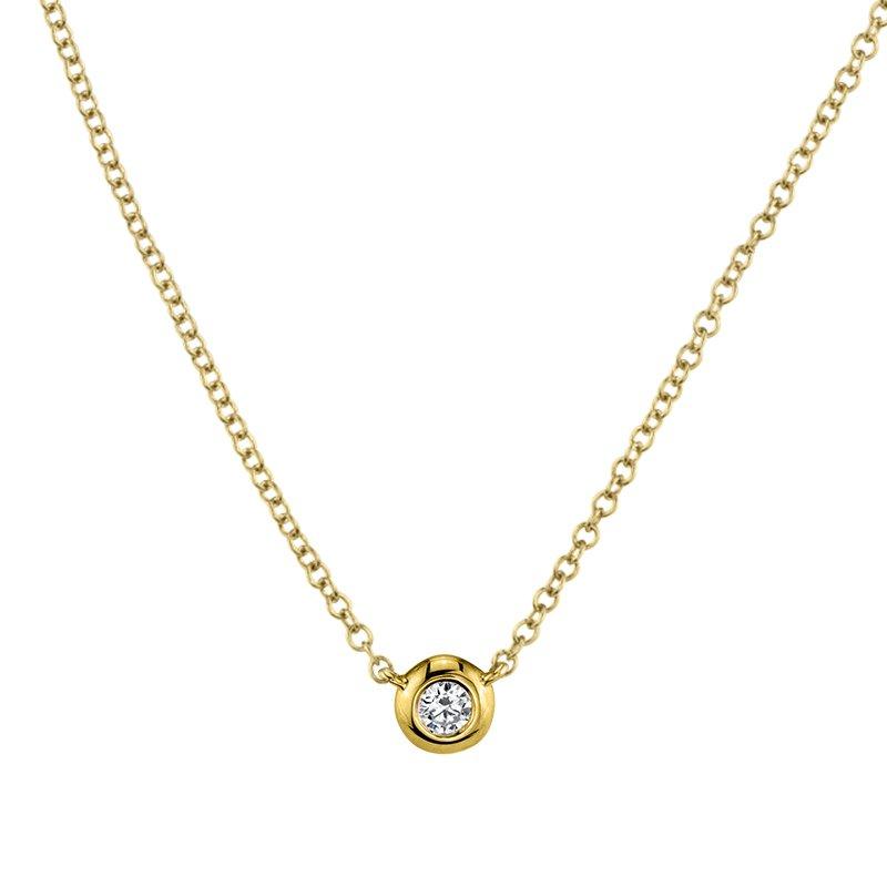 Shy Creation 0.05CT 14K Y/G Diamond Bezel Necklace