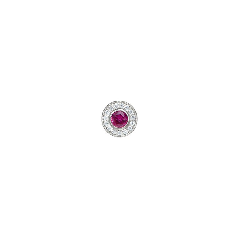 Kelly Waters platinum finish sterling silver simulated ruby charm