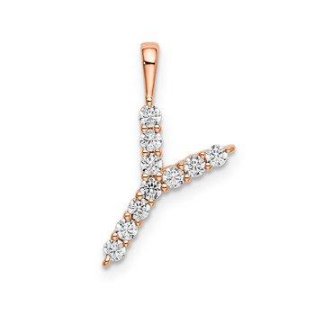 """14k rose gold initial """"Y"""" pendant"""