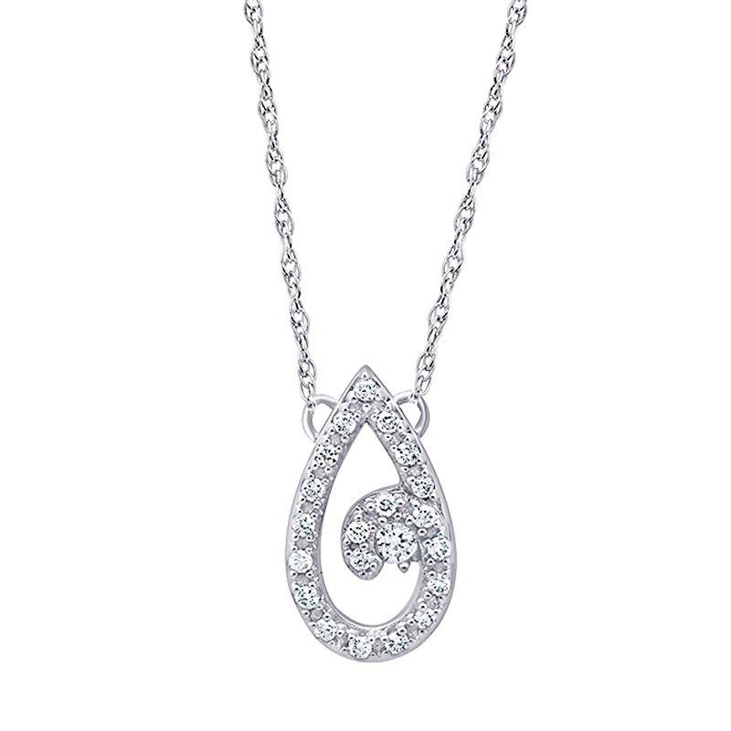 Greenberg's 10k white gold teardrop journey pendant