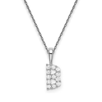 "14k white gold initial ""B"" pendant with chain"