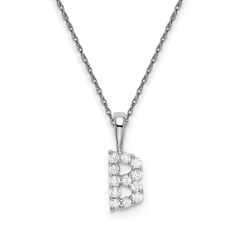 """Greenberg's 14k white gold initial """"B"""" pendant with chain"""