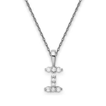 "14k white gold initial ""I"" pendant with chain"