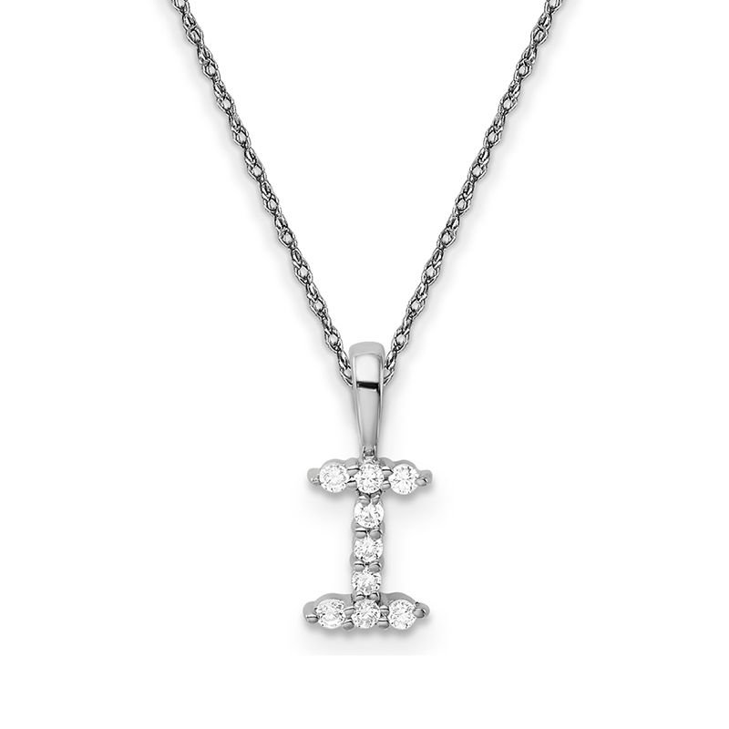 "Greenberg's 14k white gold initial ""I"" pendant with chain"