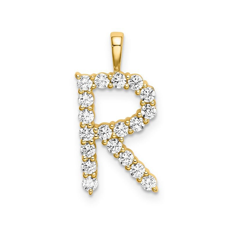 "Greenberg's 14k yellow gold initial ""R"" pendant"