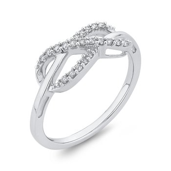 sterling silver .14ctw diamond infinity ring